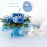 Kit presente para recem-nascido menino com buque e ursinho pelucia