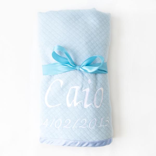 Manta bebe azul para cestas e kits