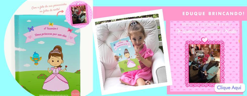 Banner do livro personalizado para crianças eu sou uma princesa por um dia