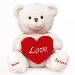 Ursinho de pelúcia com coração com as patinhas personalizadas
