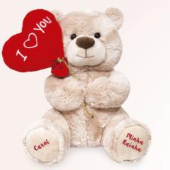 Ursinho de pelúcia com balão I Love You para dar de presente no Dia dos Namorados