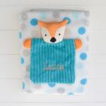 Kit presente para bebe masculino com manta e naninha da raposa