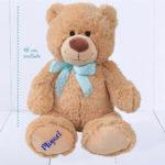 Urso Grande com laco de coracoes -Ursinho Feliz – fita azul bebe