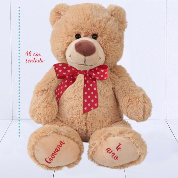 Urso Grande com laco de coracoes -Ursinho Feliz – fita vermelha – NOVA