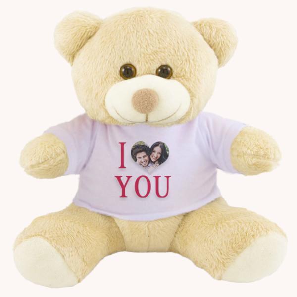 Urso Pelucia Camiseta branca 25cm com foto – I love you com foto no coracao
