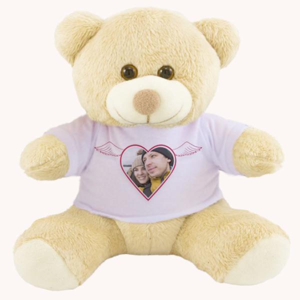 Urso Pelucia Camiseta branca 25cm com foto – coracao com asas