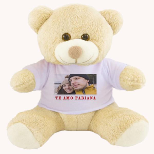 Urso Pelucia Camiseta branca 25cm com foto – foto com texto Te amo