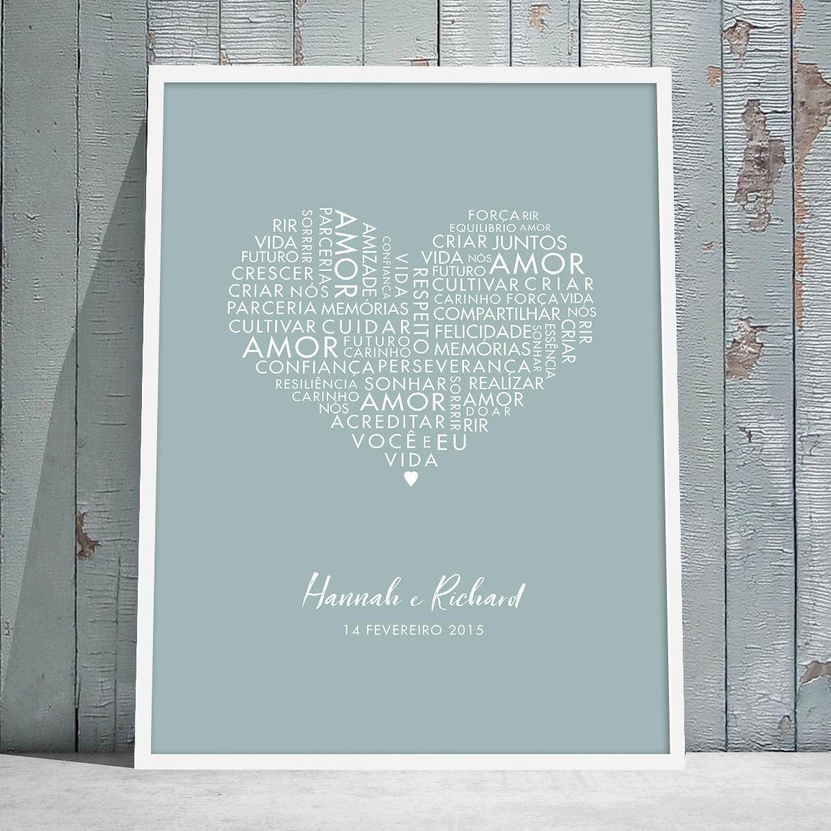 Quadro romântico personalizado com palavras de amor