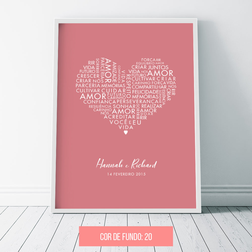 Quadro decorativo para casamento - palavras de amor - rosa antigo