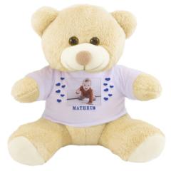 Urso de pelucia personalizado com a foto do bebe ou crianca. presente para criança de 1 ano