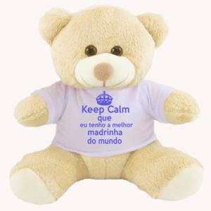 Urso de pelucia com camiseta personalizada keep calm madrinha