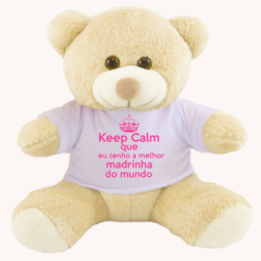 Ursinho de pelúcia keep calm madrinha meninas