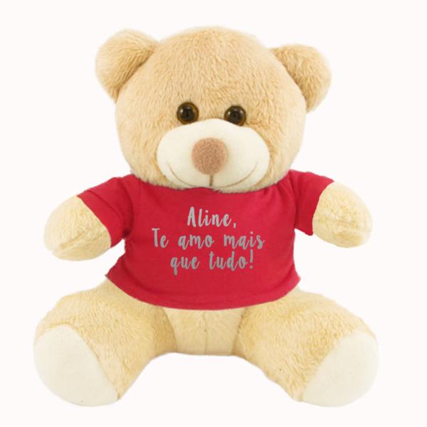 Urso Pelucia Camiseta vermelha – Te Amo mais que tudo – texto prata