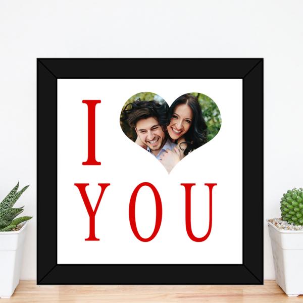 Quadro presente dia dos namorados I Love You com foto – moldura preta