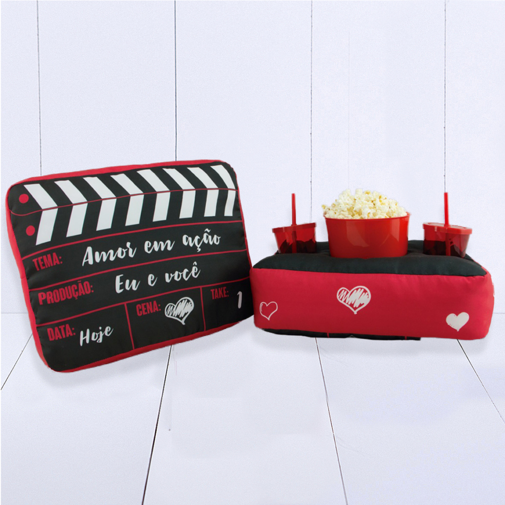Presente criativo para namorado amofada kit pipoca cinema dois