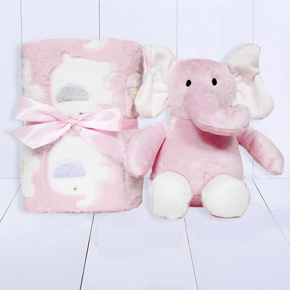Presente bebê meninas com manta personalizada e pelúcia de elefantinho
