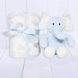 Presente para recem nascido manta personalizada e elefantinho de pelucia