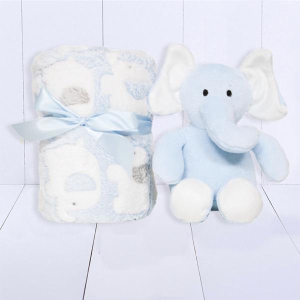 Kit Presente Bebe Manta e Elefantinho – Meninos