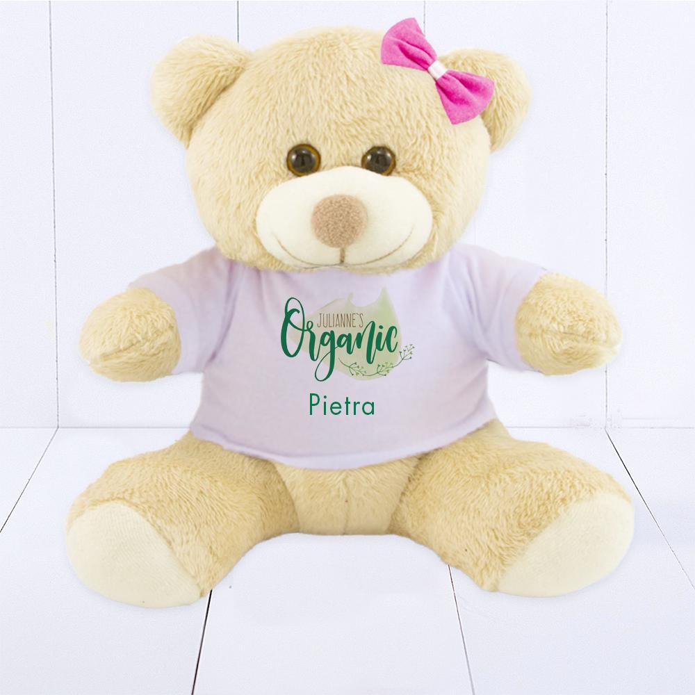 Urso de pelúcia para brinde corporativo. Presente para bebê na nascimento