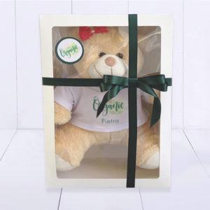 Presente para bebê cororativo. Urso de pelúcia personalizada com a caixa e logo da empresa
