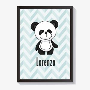 Quadro decorativo porta maternidade chevronbebê menino panda