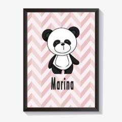 Quadrinho personalizado para quarto de bebê urso panda chevron menina