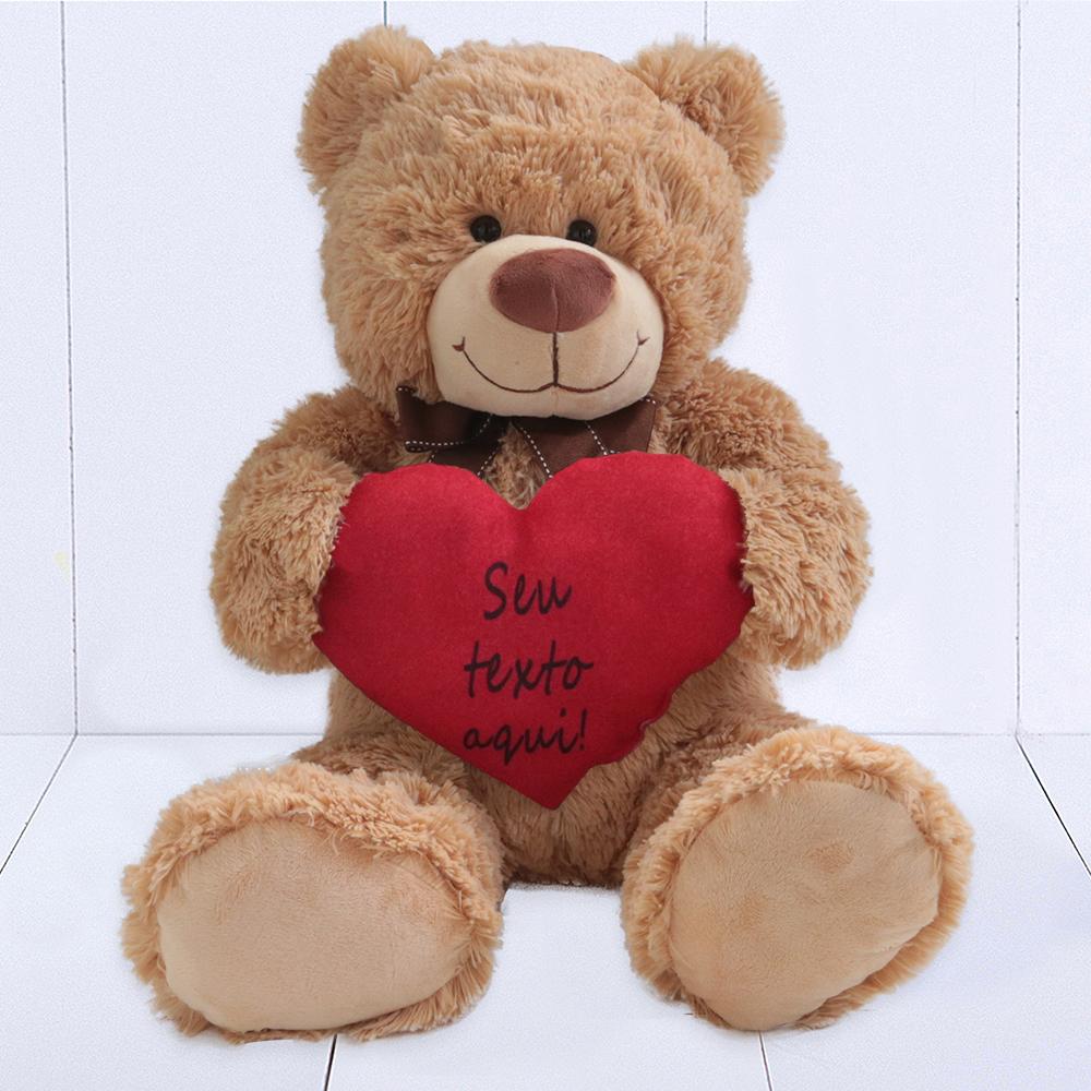 Urso de pelúcia presente dia dos namorados com coração personalizado