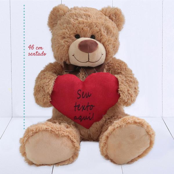 Urso Grande (Ursinho feliz) – Coracao personalizado texto – com regua medida