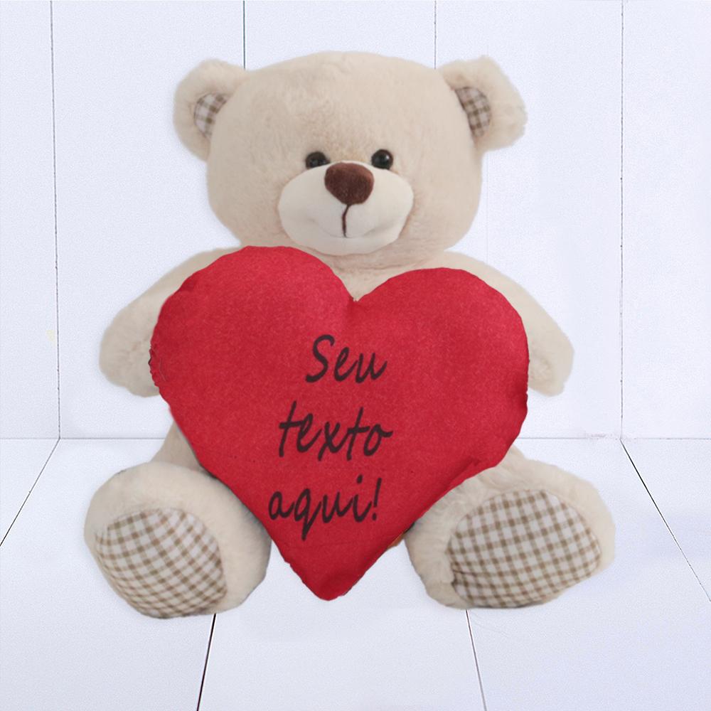 Urso Pata Xadrex – Coracao Personalizado Texto