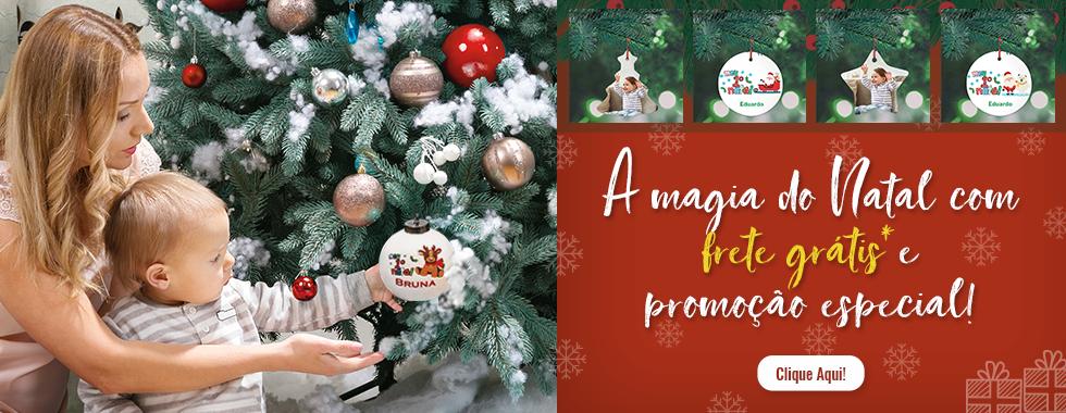 banner com enfeites personalizados de Natal