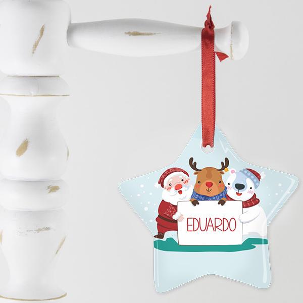 enfeite estrela de 5 pontas personalizado para a arvore de Natal
