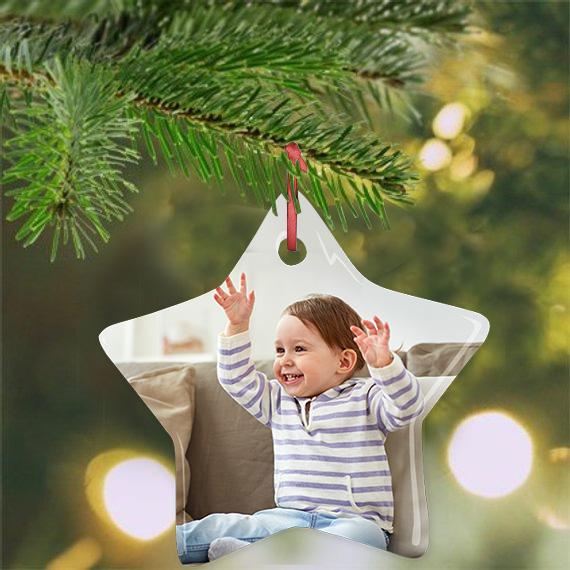 Enfeite de natal estrela personalizado com foto