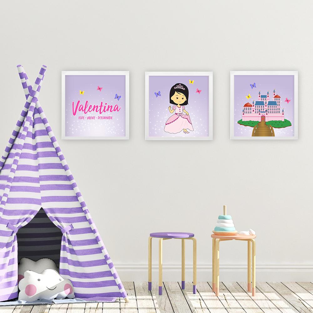Kit 3 quadros princesas – Lilas
