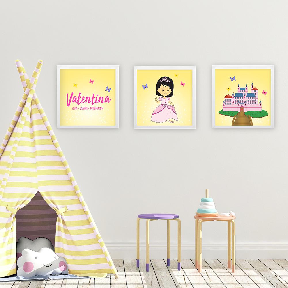 Kit 3 quadros princesas – amarelo