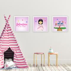 Quadros para decoração de quarto de menina no tema princesas
