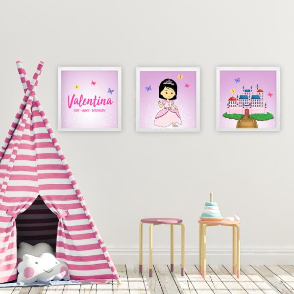 Kit 3 quadros princesas – rosa