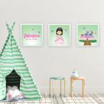 Kit 3 quadros princesas – verde