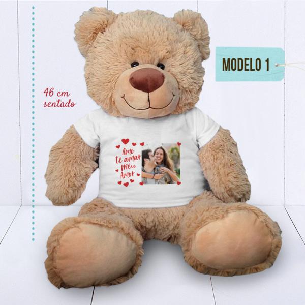 Urso Grande (Ursinho feliz) – CAMISETA personalizada com foto – com regua – MODELO 1