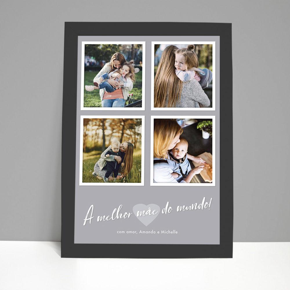 Foto presente para mães - quadro personalizado com 4 fotos