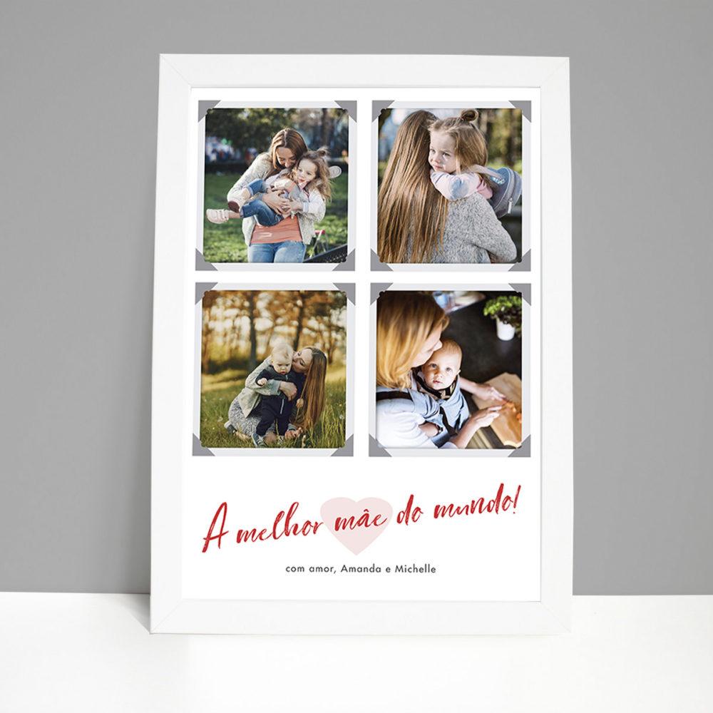 Quadro decorativo - presente dias dasmães personalizado com 4 fotose frase