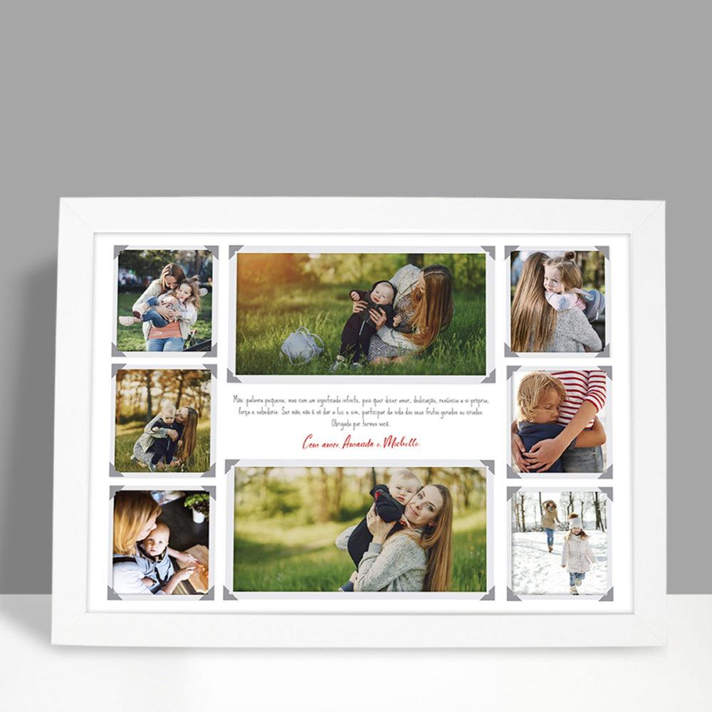 Present criativo para o dia das mães - quadro com 8 fotos e dedicatória