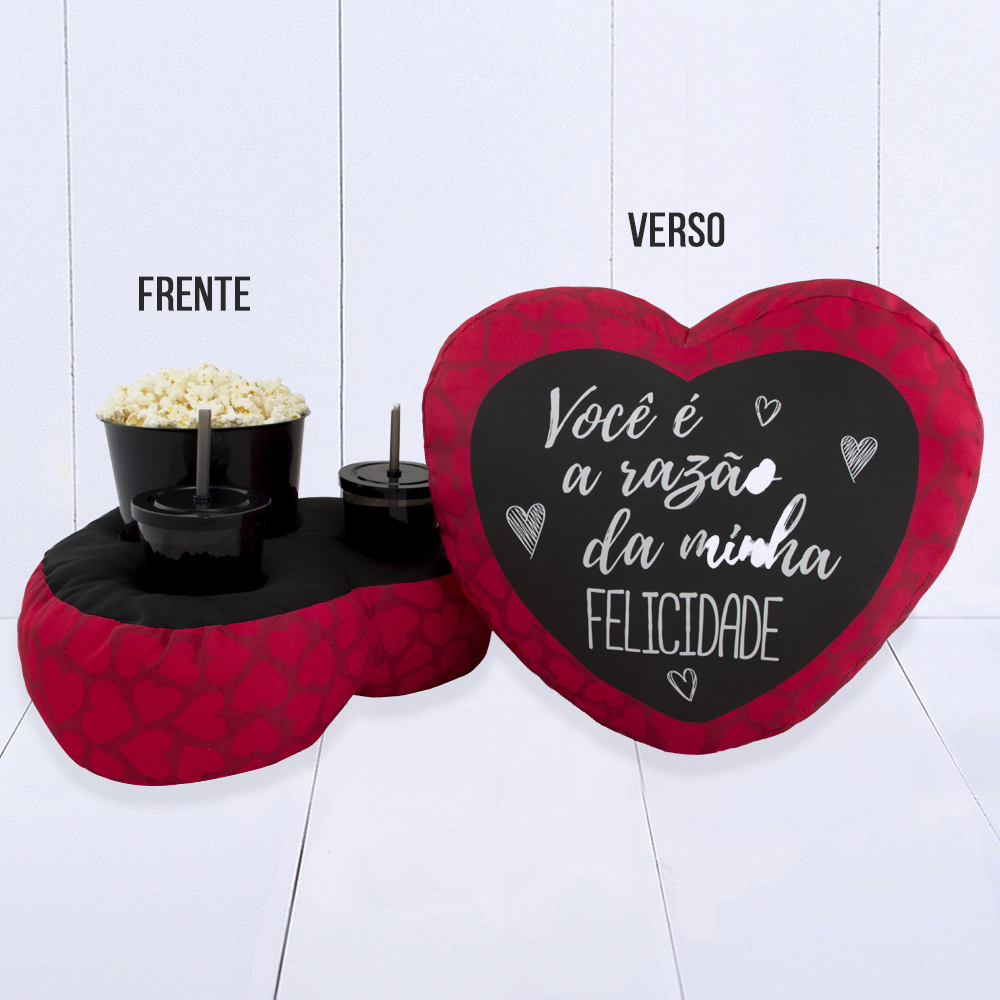 Almofada Kit Pipoca – Coração – Razão da minha Felicidade – Frente e verso