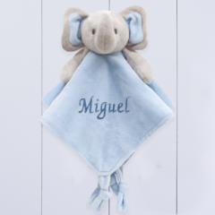 Presente para bebê recém-nascido menino - naninha do elefantinho personalizada
