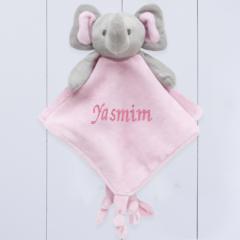 Presente para bebê - naninha do elefantinho rosa personalizada