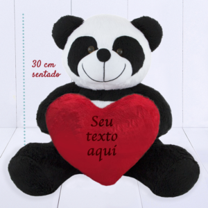 Presente Dia dos Namorados- Panda com coração de pelúcia personalizado