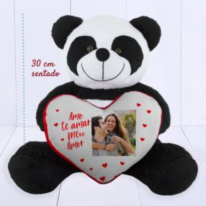Presente criativo para namorado - panda pelúcia com coração personalizado com foto