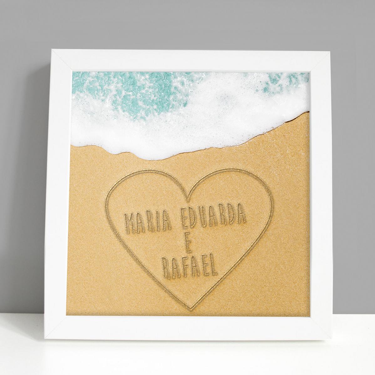Presente criativo para namorado - quadro coração na areai