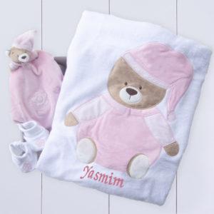 Presente para bebê rcém nascido menina - com naninha, pantufa e manta personalizada