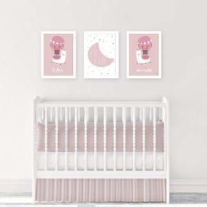 Kit quadros decorativos para quadrto de bebê lhama meninas rosa