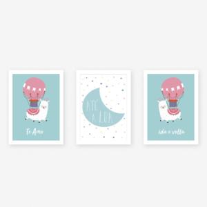 Quadros para quarto de bebê lhama meninos azul